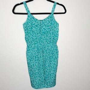 Bebop Green Floral Sleeveless Shirt Dress Girl's
